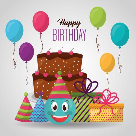 happy birthday emoji face cake gifts balloons