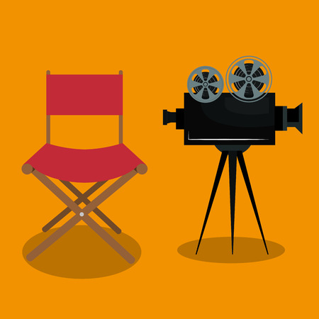 cinema director chair with camera vector illustration design Иллюстрация