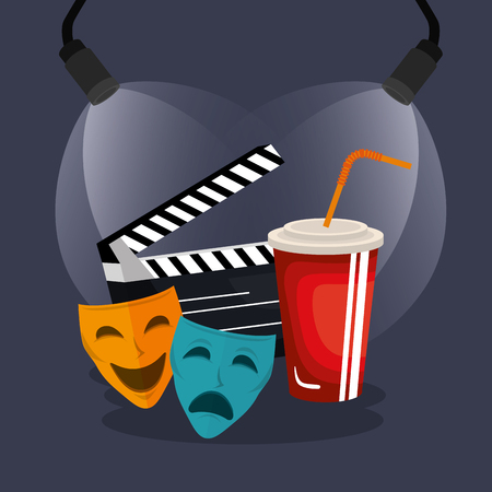 theater masks cinematographic icons vector illustration design 向量圖像