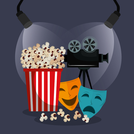 theater masks cinematographic icons vector illustration design Illustration