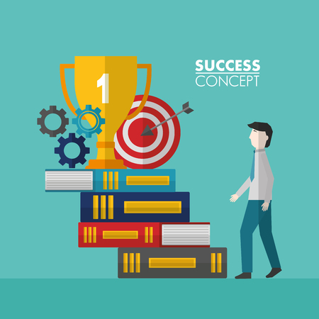 success concept winner trophy with books pointer wheels man going up vector illustration Illusztráció