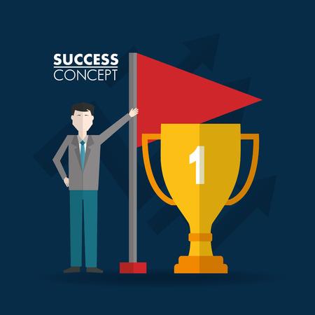 success concept winner trophy man pointed red flag vector illustration