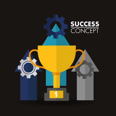 success concept winner trophy wheels arrows up sign vector illustration