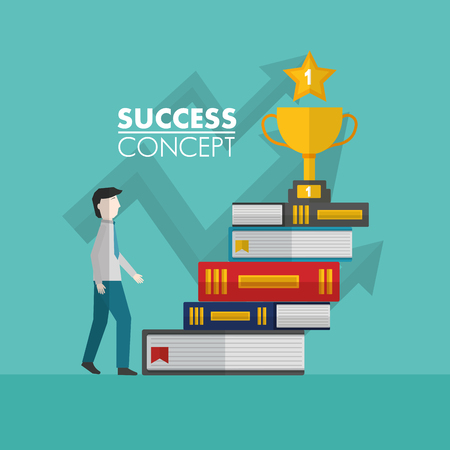 success concept winner man going up books trophy finale vector illustration