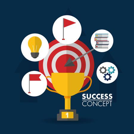 success concept winner trophy stickers light bulb wheel books flag vector illustration