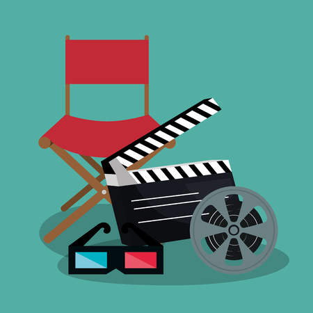 cinema director chair with icons vector illustration design