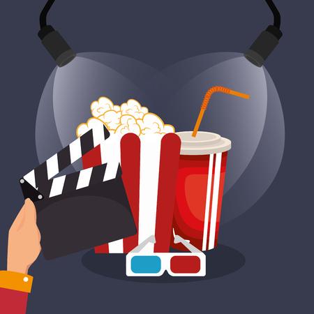 clapper cinema production icons vector illustration design