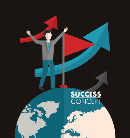 success concept winner arrows going up man above world flag on the top vector illustration Illusztráció