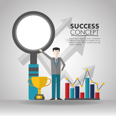success concept magnifying glass man pointed trophy statistics vector illustration