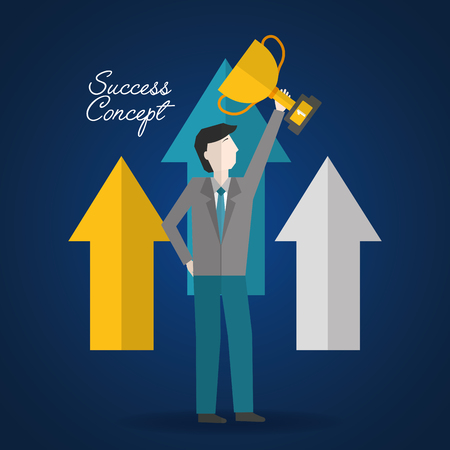 success concept arrows pointed man holding trophy vector illustration