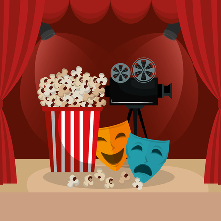 cinema food with film icons vector illustration design 向量圖像