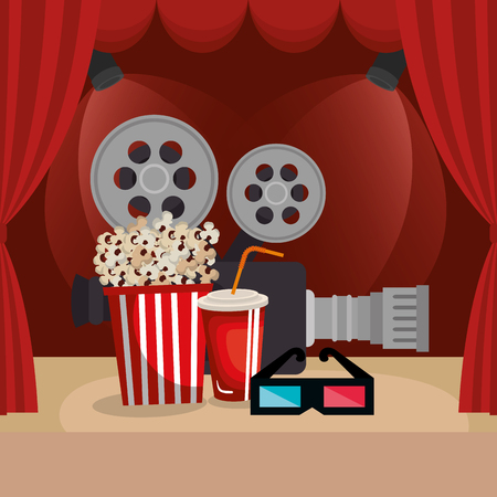 theater courtain with cinema icons vector illustration design