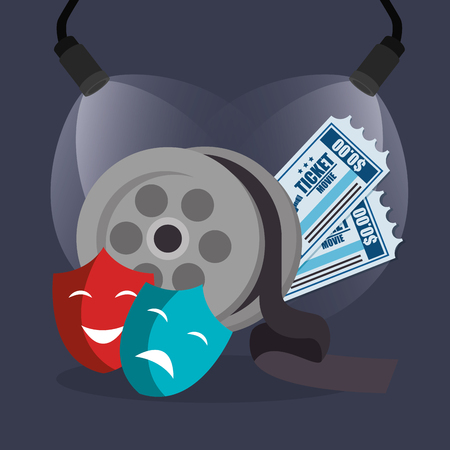 cinema reel with tickets and masks vector illustration design Иллюстрация