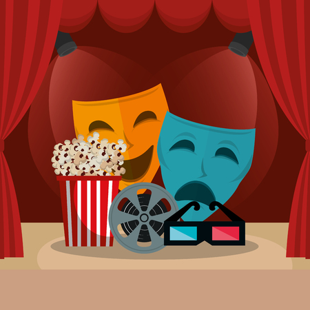 courtain cinema with films icons vector illustration design 일러스트