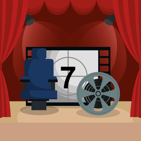 courtain cinema with films icons vector illustration design Illustration