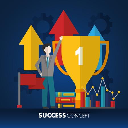 success concept man pointed trophy number one arrows up flag statistics with books vector illustration Ilustração