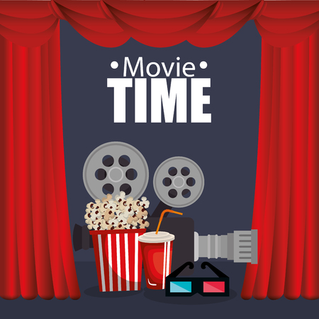 theater courtain with cinema icons vector illustration design Stok Fotoğraf - 111861366