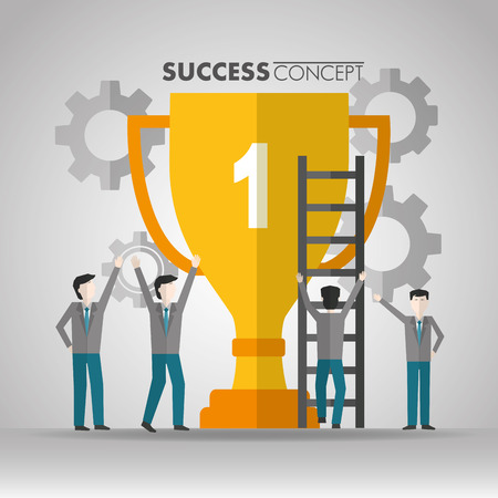 success concept otrphy mans hands up pointed going up stairs vector illustration