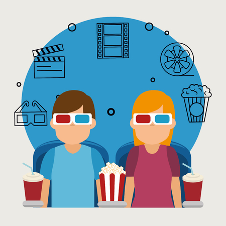 young people with glasses 3d and cinema icons vector illustration design Çizim