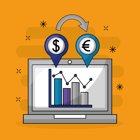 foreign exchange computer screen statistics location euro dollar icon vector illustration