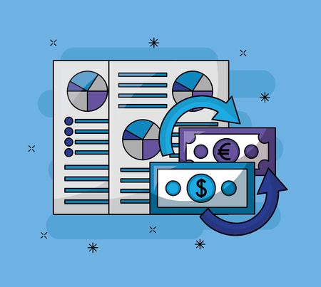 foreign exchange papers results probability money vector illustration