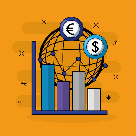 foreign exchange global euro dollar currency statistics vector illustration Illustration