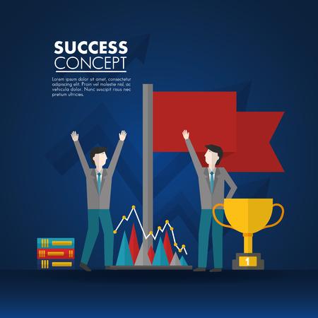 success concept red flag mans hands up trophy statistics books vector illustration Illusztráció