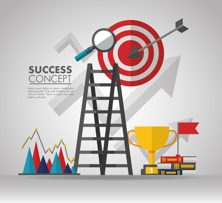success concept stairs magnifying glass trophy books statistics vector illustration