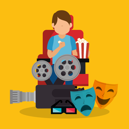 young man with cinematographic icons vector illustration design