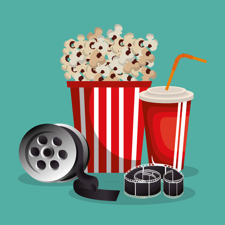 cinema food with film icons vector illustration design 일러스트