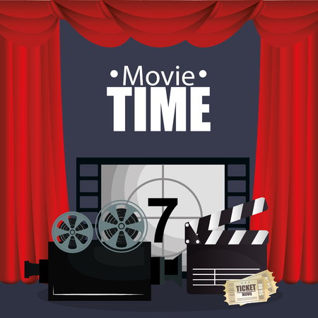 courtain cinema with films icons vector illustration design Çizim