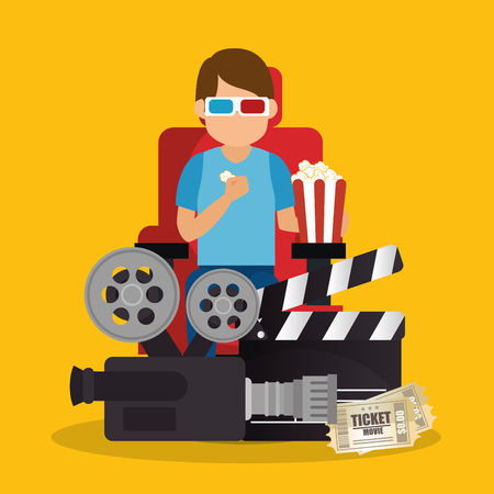 young man with glasses 3d and cinema icons vector illustration design Ilustrace