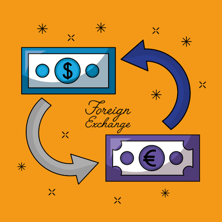 foreign exchange money euro and dollar change vector illustration
