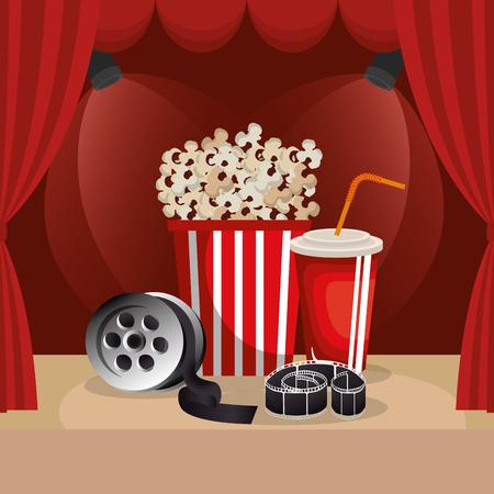 cinema food with film icons vector illustration design 向量圖像