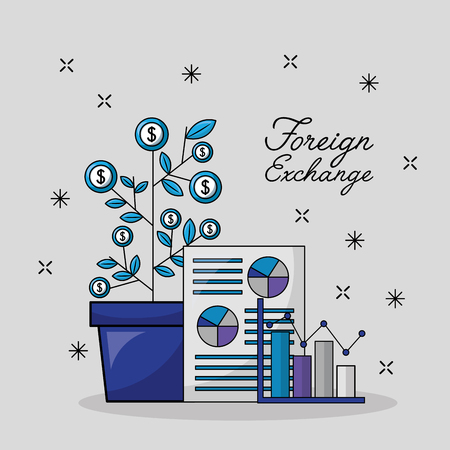 foreign exchange dollar plant paper statistics probability vector illustration