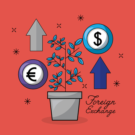 foreign exchange plant euro dollar icon arrows up vector illustration