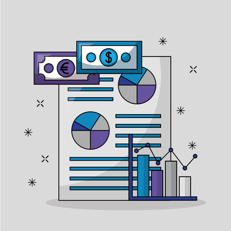 foreign exchange paper porcent probability money icon statistics vector illustration