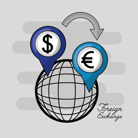 foreign exchange global icon location euro and dollar vector illustration Illusztráció