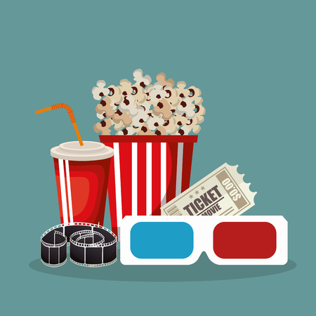 cinema food with film icons vector illustration design Çizim