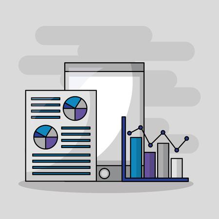 foreign exchange smartphone statistics paper probability results vector illustration Ilustração