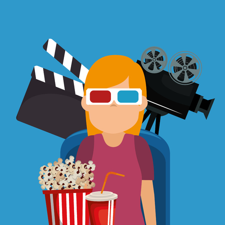 young woman with glasses 3d and cinema icons vector illustration design