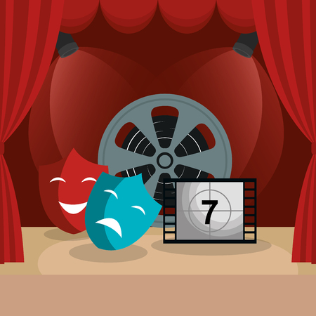 theater courtain with cinema icons vector illustration design 版權商用圖片 - 111861426