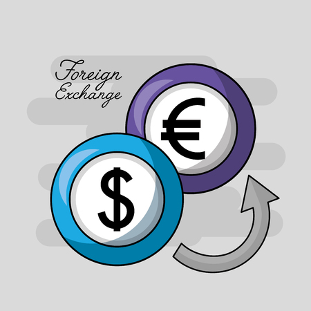 foreign exchange euro and dollar currency icon vector illustration