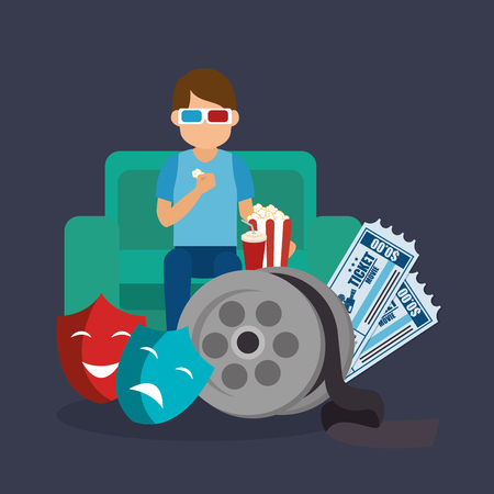 young man with glasses 3d and cinema icons vector illustration design Çizim