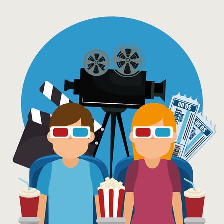 young people with glasses 3d and cinema icons vector illustration design Illustration