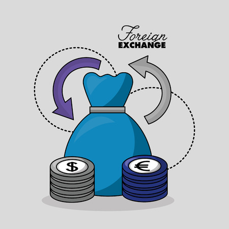 foreign exchange dress change euro dollar currency vector illustration Foto de archivo - 111864663