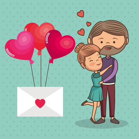 couple lovers with envelope and balloons helium vector illustration design