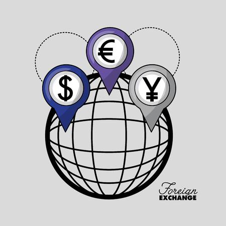 foreign exchange global location icon yen dollar euro vector illustration