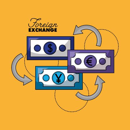 foreign exchange money change euro dollar yen vector illustration Illustration