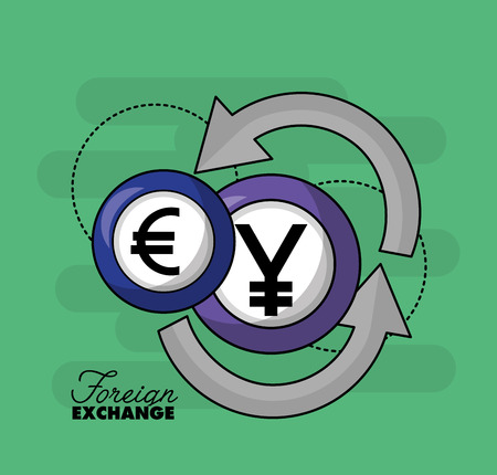 foreign exchange yen euro currency change vector illustration